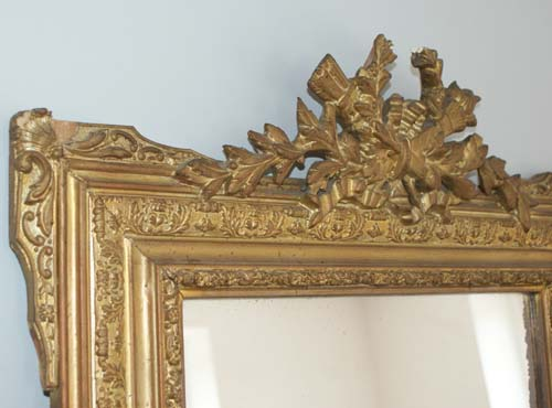 Shabby Chic Antique French Gold Crested Mirror C 1890