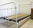 1930s French Shabby Chic White Iron Bed 3 ft 9 INCLUDES BASE