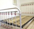 French Antique White Small Double 4ft Iron Bed INCLUDES BASE