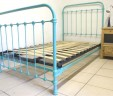 French Single Metal Bed Turquoise Blue 3 ft 9″ RENOVATED – INCLUDES BASE