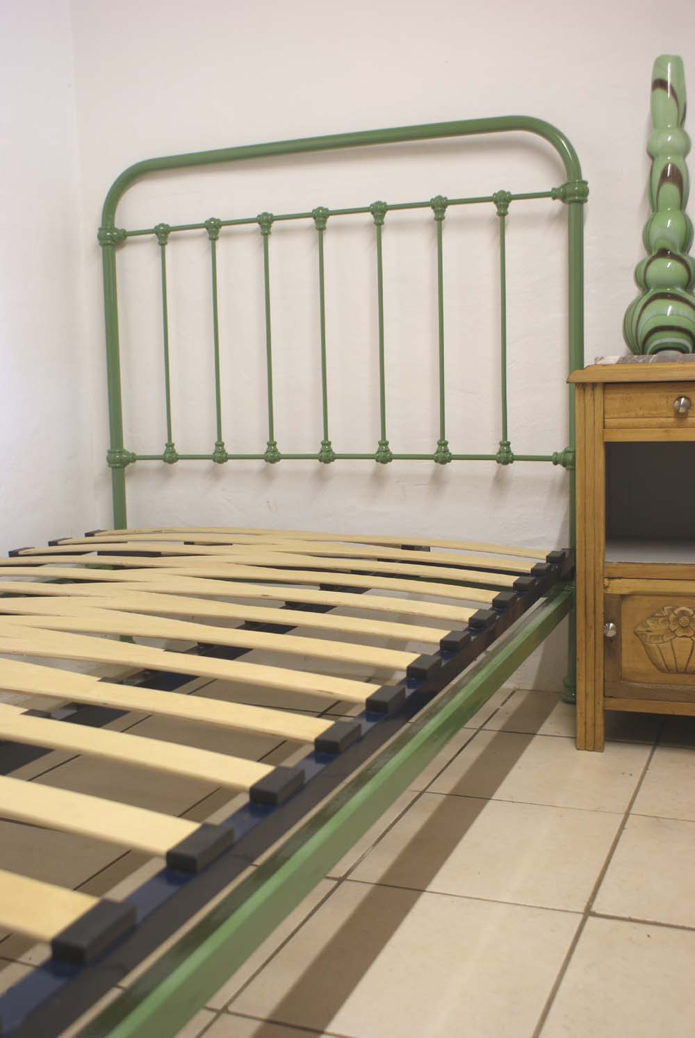 Antique french iron bed - Antique French Bed Green Ral 6011