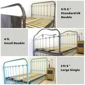 Adjustable slatted bed base on French metal beds