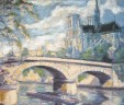 Vintage French Pastel Painting Notre Dame Paris Signed