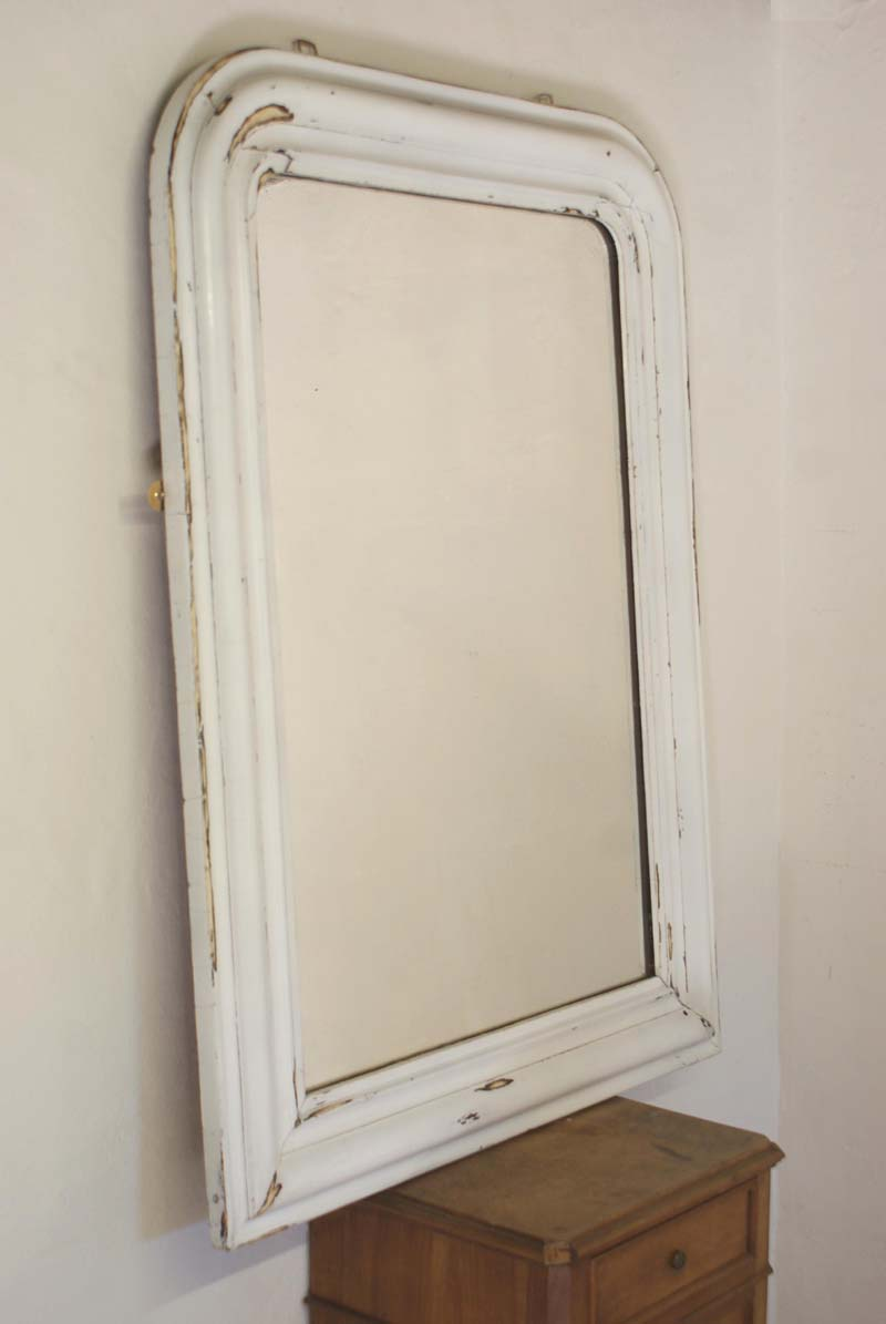 Large Antique French White Mirror Louis Philippe 77 Cm X 104 Cm