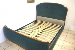 Vintage French Corbeille Double Bed Turquoise