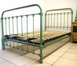 Antique French Bed Single Iron Green 3 ft 9″ Renovated INCLUDES BASE