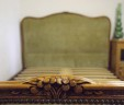 French Demi Corbeille Double Bed 4 ft 6″ Olive Green INCLUDES BASE