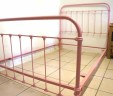 French Antique Small Double 4ft Iron Bed Renovated Pink INCLUDES BASE