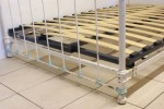1930s French 4 ft Shabby White Blue Small Double Bed