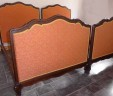 Pair / Twin French Upholstered Single Beds Orange 3 ft 7.5″ EXCLUDES BASES