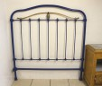 Antique French 4 ft Small Double Iron Metal Brass Bed Headboard