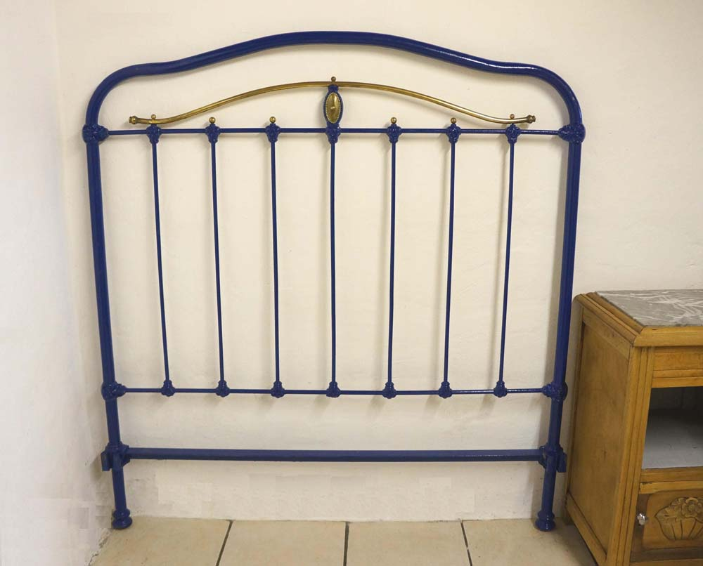 free shipping 33acd 581c5 Antique French 4 ft Small Double Iron Metal Brass Bed Headboard