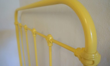 1930s French Iron Bed, Mellow Yellow