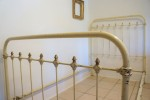 Antique Single Iron Bed Cream & Brass
