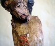 Antique French Hand Carved & Painted Jesus Christ Figure 19th Century