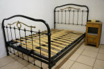 Antique French Bed Black Iron & Brass