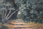 Vintage French Oil Painting Blue Forest