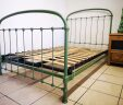 French Antique Bed Green 4 ft Small Double Renovated W/ Slatted Bed Base