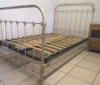 French Antique Bed 4ft Small Double Shabby W/ Slatted Bed Base